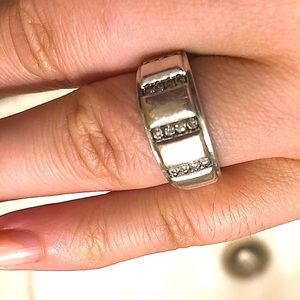 1/3 ct Diamonds 925 Sterling wide ring band 9 9.5